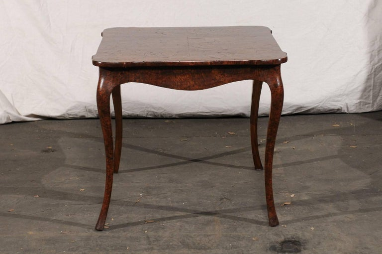 19th Century Turn of the Century Continental Burl Wood Card Table For Sale 4