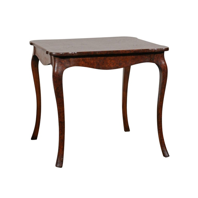 19th Century Turn of the Century Continental Burl Wood Card Table For Sale