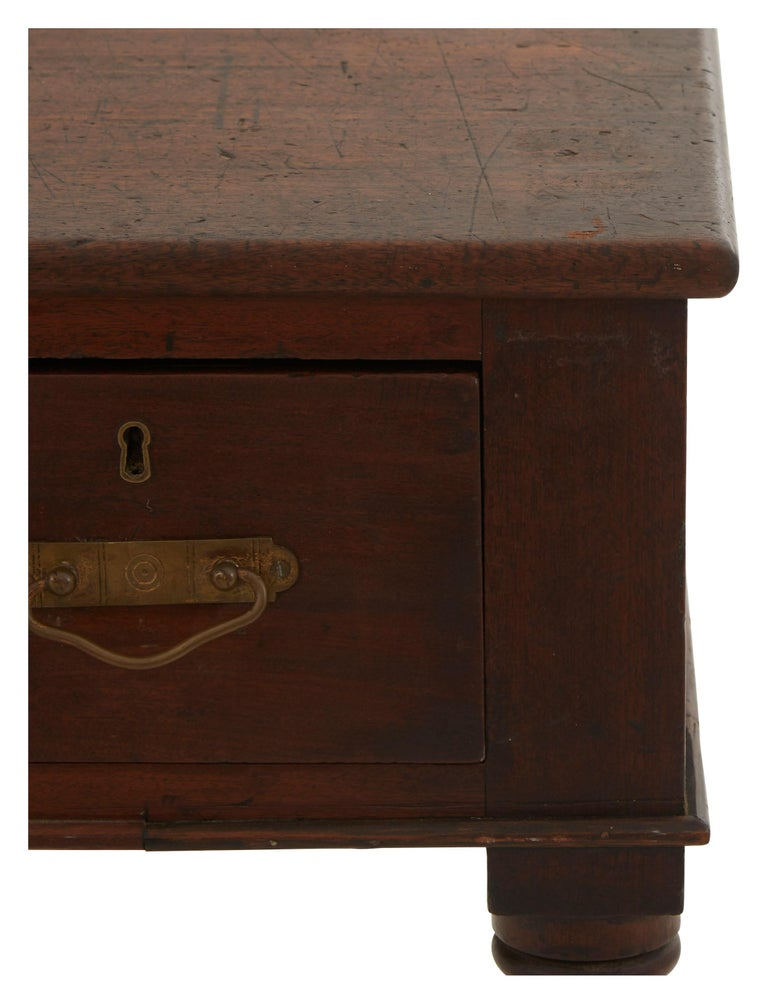 Brass 19th Century Turned Leg Standing Office Desk For Sale