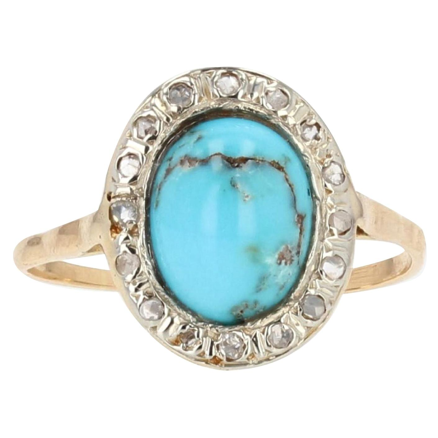 19th Century Turquoise Diamonds 18 Karat Yellow Gold Silver Oval Ring