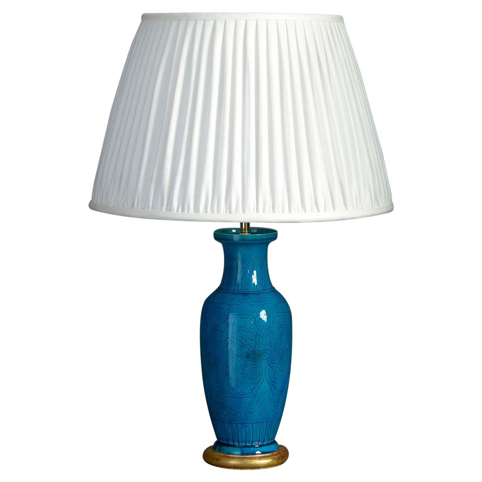 19th Century Turquoise Glazed Vase Lamp