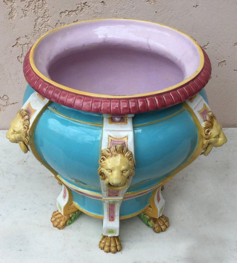 Victorian 19th Century Turquoise Minton Majolica Lions Jardiniere For Sale