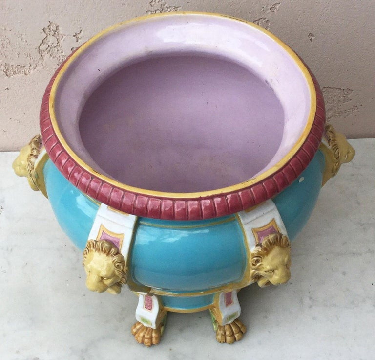 English 19th Century Turquoise Minton Majolica Lions Jardiniere For Sale