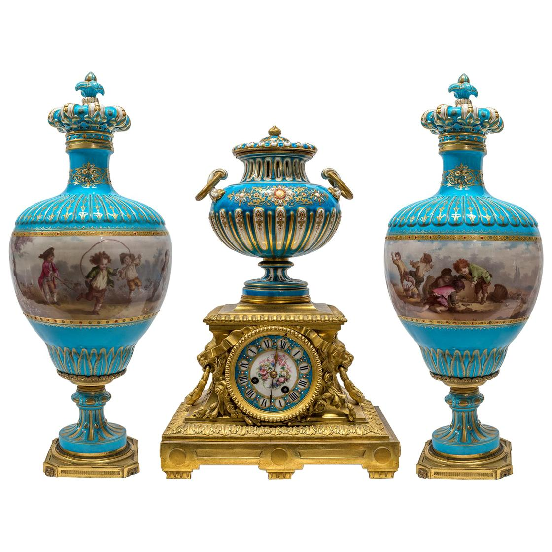 19th Century Turquoise Sèvres Style Jeweled Porcelain and Ormolu Clock Set