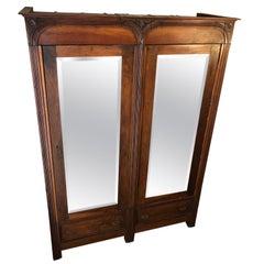 1880s Tuscan Wardrobe Solid Walnut Ground Mirrors Restored Wax Polished