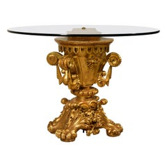 19th Century Tuscany Giltwood Louis XIV Style Centre Table with Round Glass Top