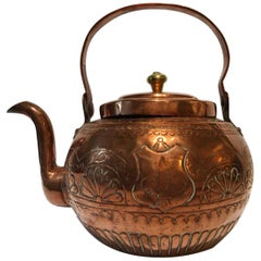 19th Century Tuscany Kitchen Copper Water Kettle Pot, Florence