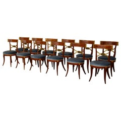 19th Century, Twelve Italian Neoclassical Lacquered Wood Chairs