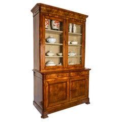 19th Century Two-door Sideboard French Louis Philippe Walnut Two-Part Bookcase