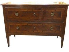 19th Century Two-Drawer Inlay Commode, Italy