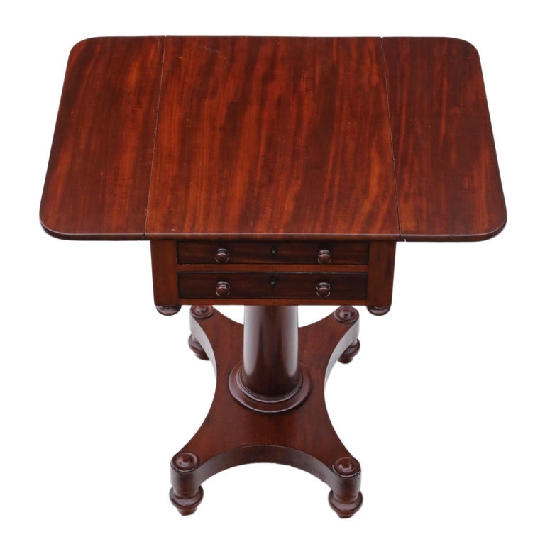 Regency 19th Century Two-Drawer Mahogany Drop Leaf Work Table For Sale