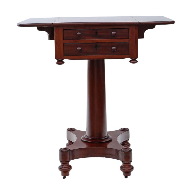 19th Century Two-Drawer Mahogany Drop Leaf Work Table In Good Condition For Sale In Wisbech, Cambridgeshire