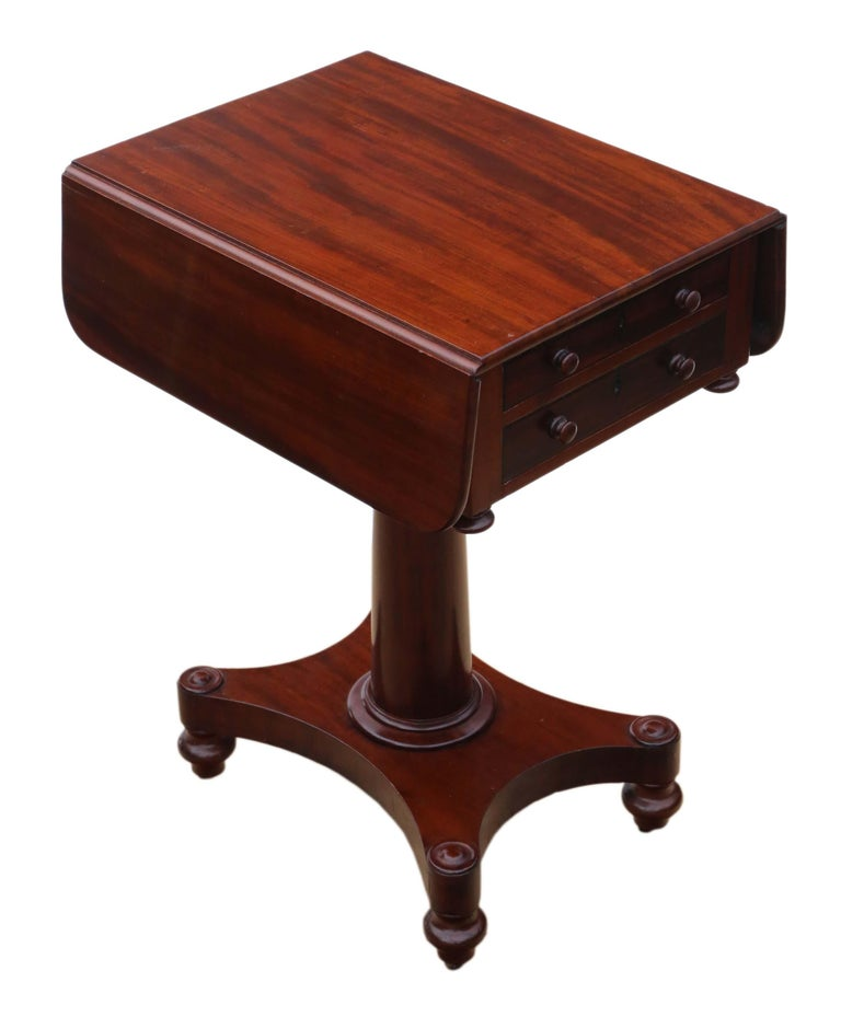 19th Century Two-Drawer Mahogany Drop Leaf Work Table For Sale 1