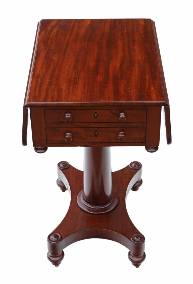 19th Century Two-Drawer Mahogany Drop Leaf Work Table For Sale 3