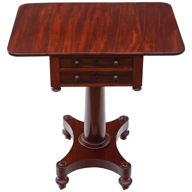 19th Century Two-Drawer Mahogany Drop Leaf Work Table For Sale