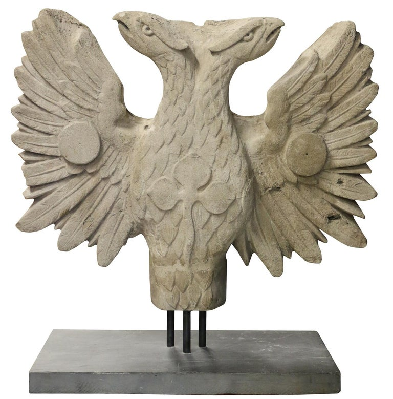Limestone 19th Century Two Headed Eagle Sculpture For Sale