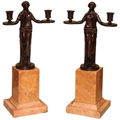 19th Century Two-Light Bronze and Marble Candelabra in the manner of Thomas Hope
