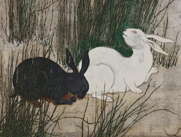 Unknown artist  Rabbits and Horsetail Reeds  Painted in the Year of the Fire Dog, 1826 or 1886. 19th century.  The scene depicted here is set under moonlight, with two hares hidden amongst Japanese horsetail reeds. In Japan horsetails have