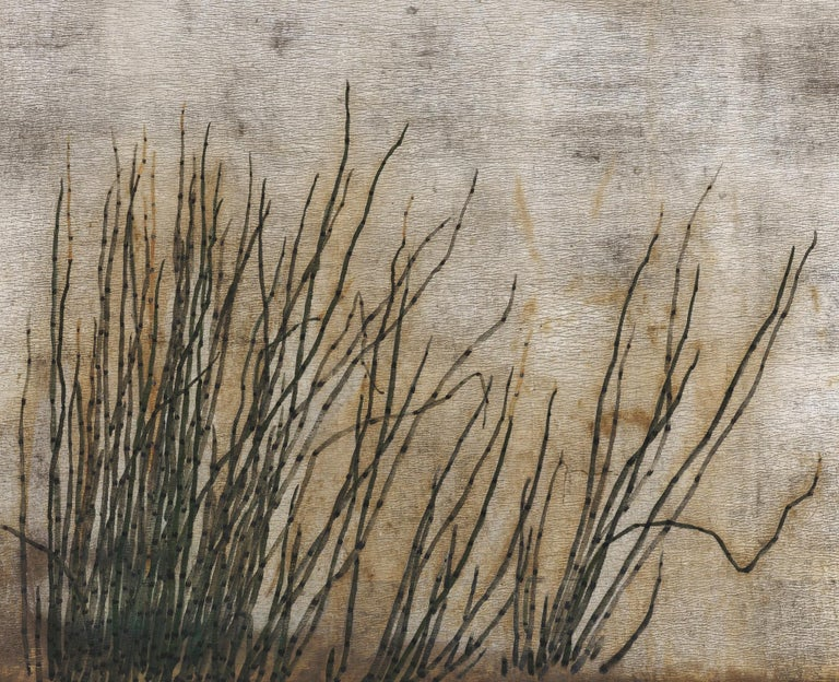 Edo Japanese Screen, 19th Century, Rabbits and Horsetail Reeds on Silver Leaf For Sale
