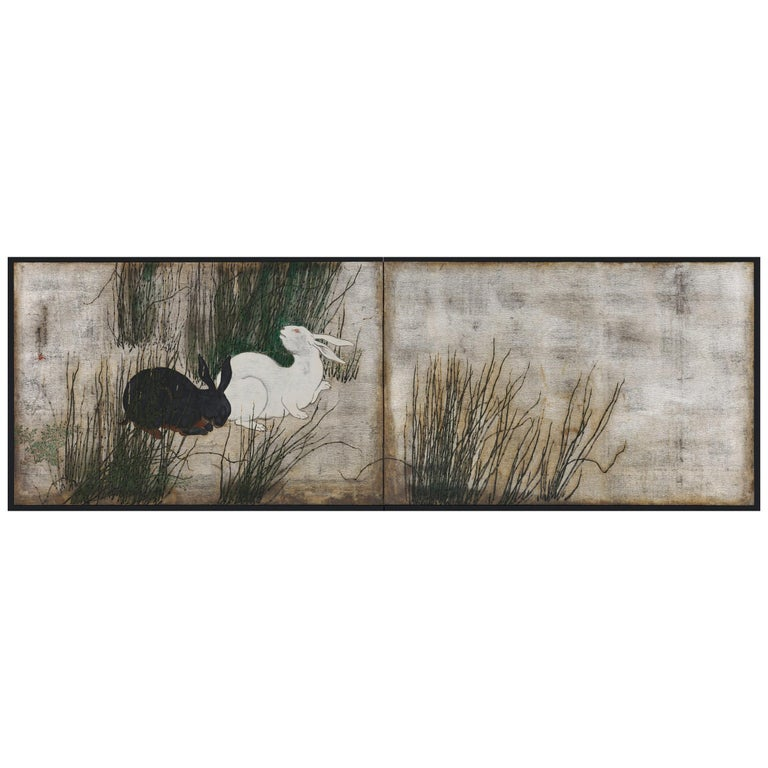Japanese Screen, 19th Century, Rabbits and Horsetail Reeds on Silver Leaf For Sale