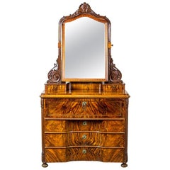 19th-Century Two-Part Dresser with a Mirror