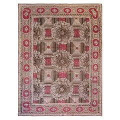 19th Century Ukrainian Rose and Beige Handwoven Wool Carpet