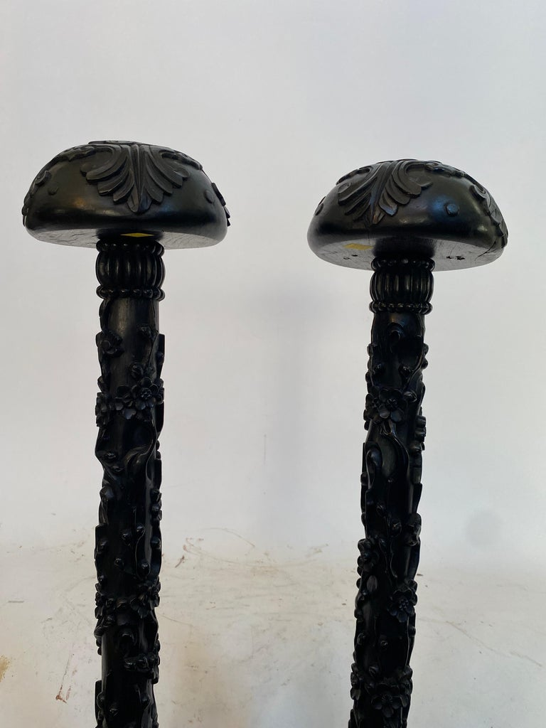 19th Century Unique Chinese Carved Hardwood Flower Tall Stands For Sale 2