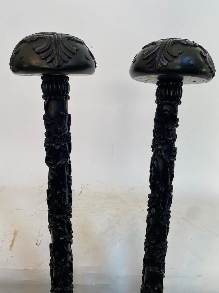 19th Century Unique Chinese Carved Hardwood Flower Tall Stands For Sale 4