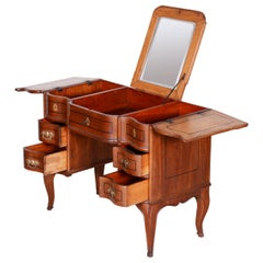 19th Century Unique Brown Czech Baroque Oak Writing Desk with Mirror, 1820s
