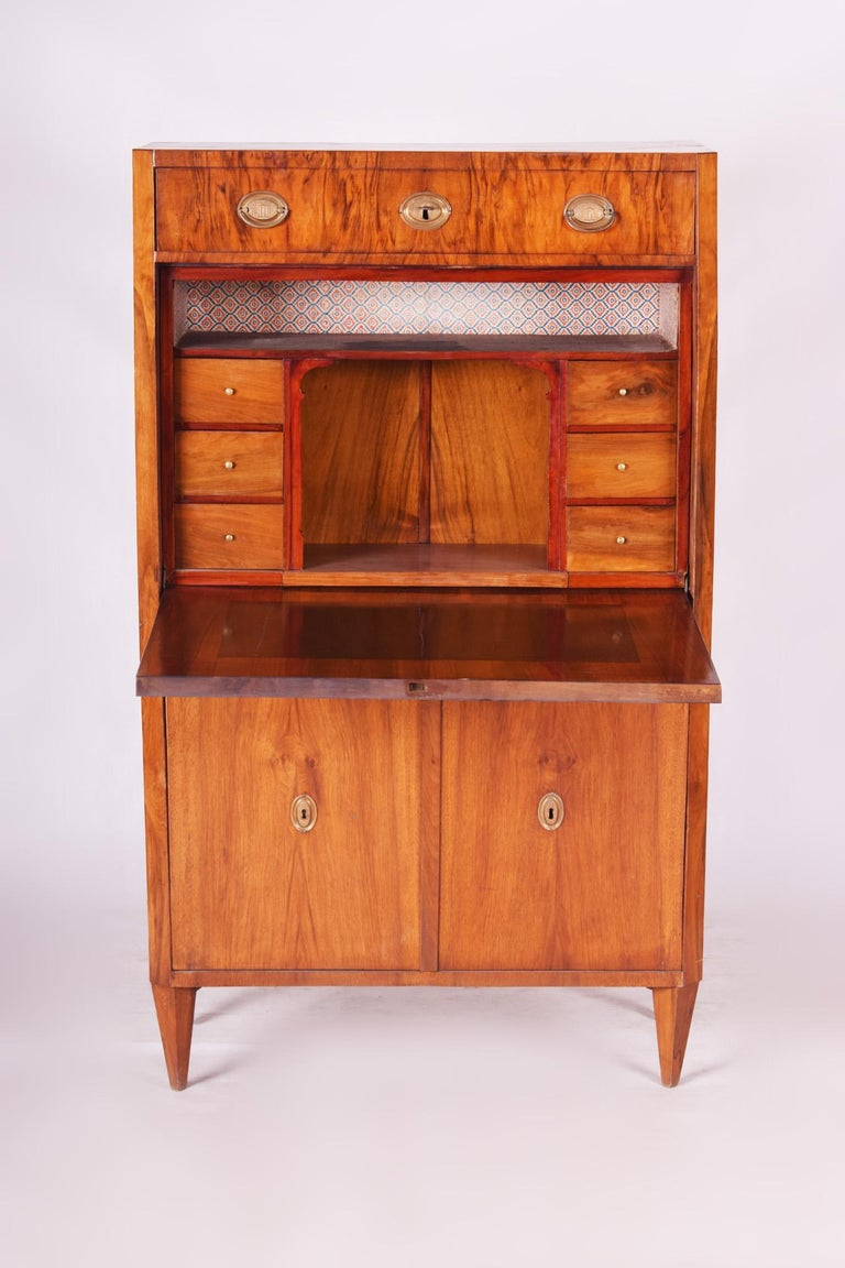 Wood 19th Century Unique Czech Walnut Biedermeier Secretary/Writing Desk, 1830s For Sale