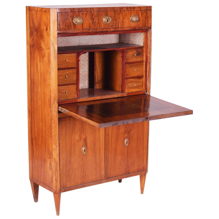 19th Century Unique Czech Walnut Biedermeier Secretary/Writing Desk, 1830s For Sale