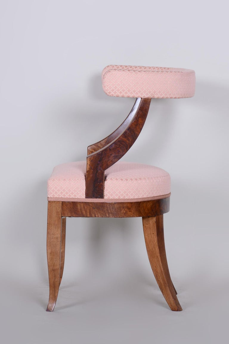 Austrian 19th Century Unique Restored Biedermeier Armchair, Vienna, 1820s, New Upholstery For Sale
