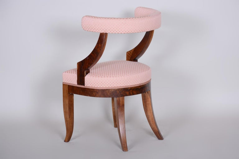 19th Century Unique Restored Biedermeier Armchair, Vienna, 1820s, New Upholstery In Good Condition For Sale In Prague 1, CZ