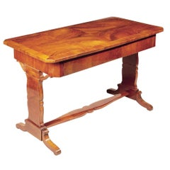 19th Century Unique Restored Czech Biedermeier Walnut Table, 1840s