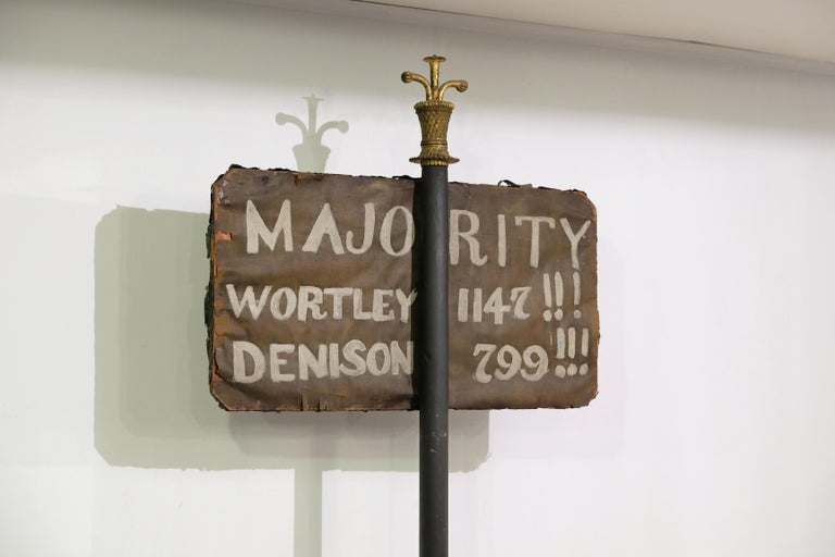 Dating from the 1841 General Election, this sign was used to announce the results of the votes cast for the different candidates. Hon John Stuart Wortley, Edmund Beckett Denison, Viscount Morpeth and Viscount Milton stood for the West Ridings of