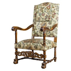 19th Century Upholstered, Carved Armchair