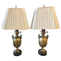 19th Century Urn Shaped Grecian Doré Bronze Table Lamps, a Pair