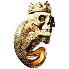 19th Century Vanitas Memento Mori Skull on Diamond Gold Oversize Ring