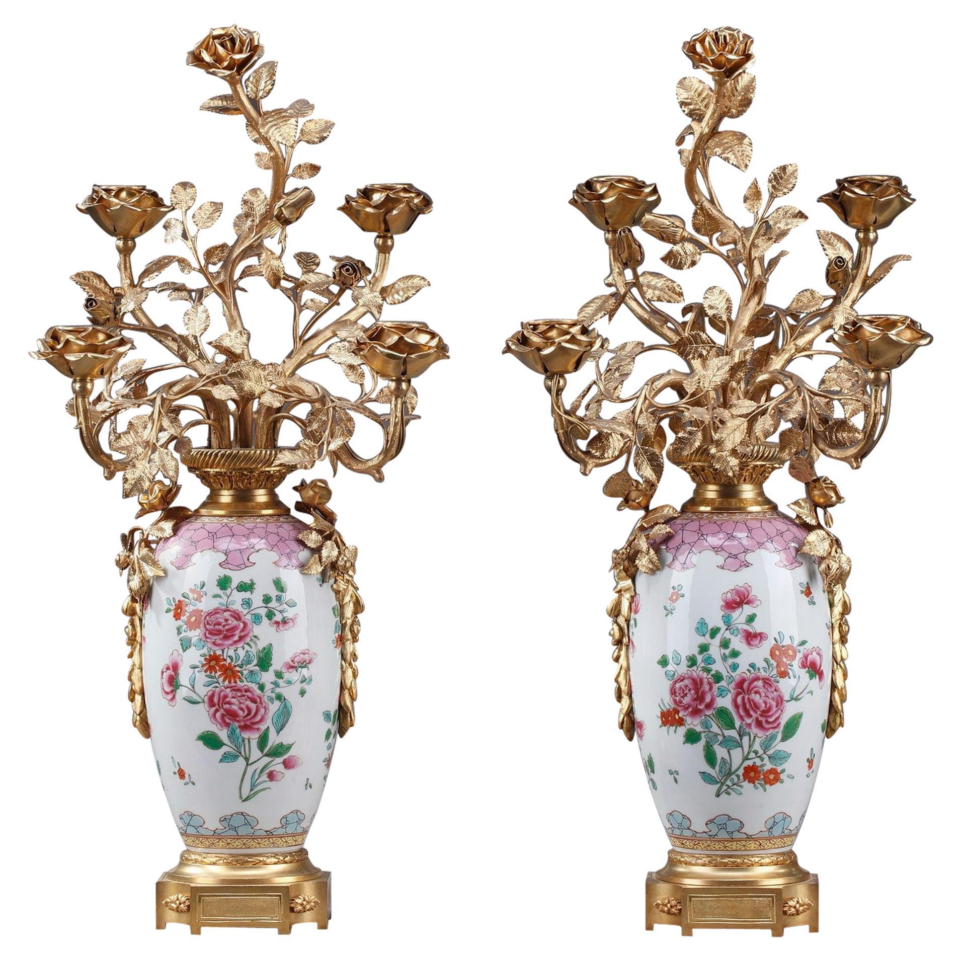 19th Century Vases Mounted as Lamps in Famille Rose Porcelain Taste
