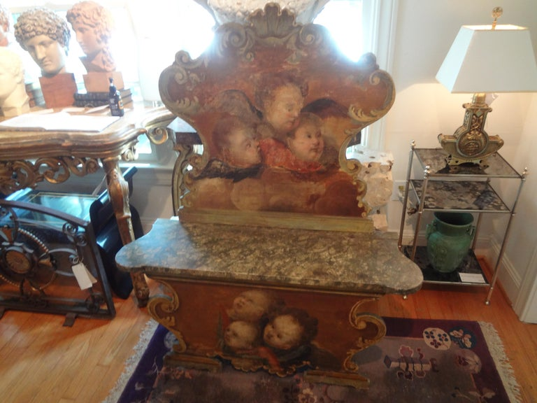 19th Century Venetian Baroque Style Carved and Painted Bench For Sale 4
