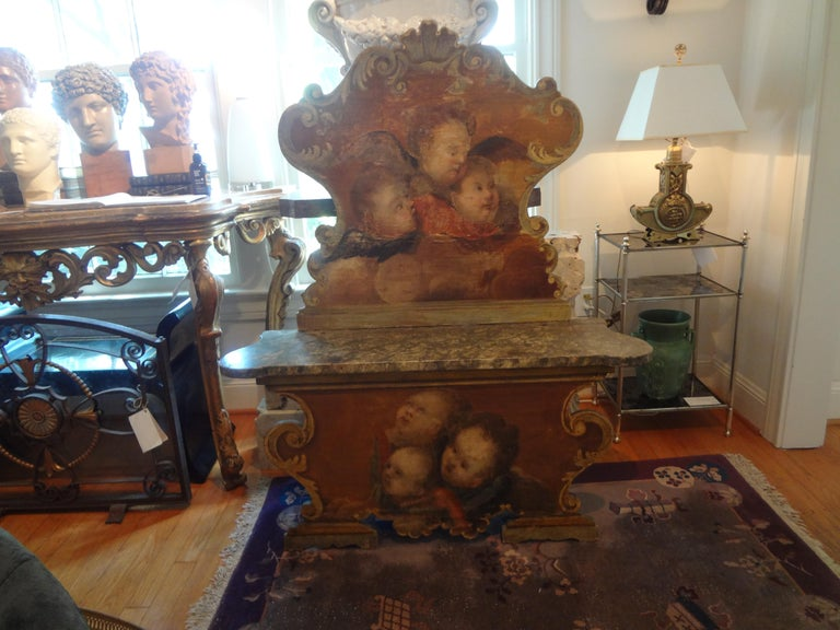 19th Century Venetian Baroque Style Carved and Painted Bench For Sale 5