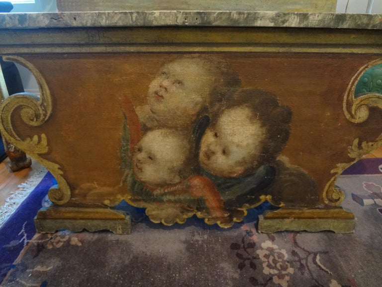 Italian 19th Century Venetian Baroque Style Carved and Painted Bench For Sale