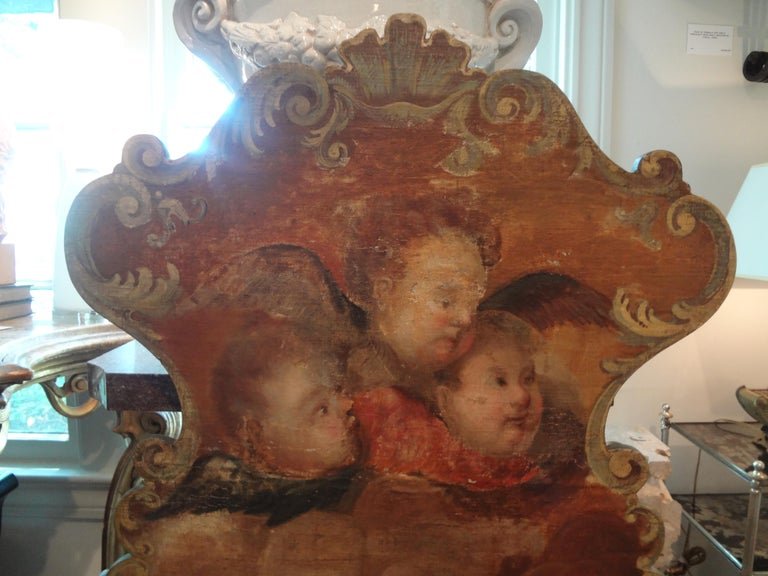 Polychromed 19th Century Venetian Baroque Style Carved and Painted Bench For Sale