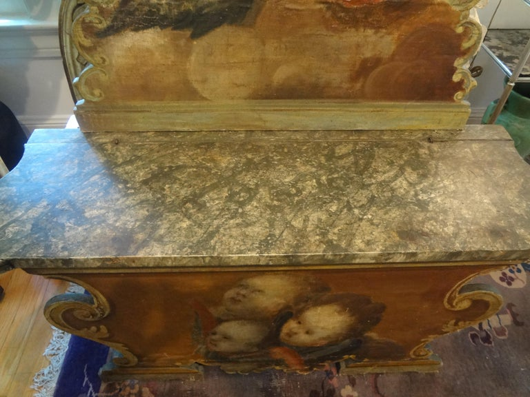 19th Century Venetian Baroque Style Carved and Painted Bench In Good Condition For Sale In Houston, TX