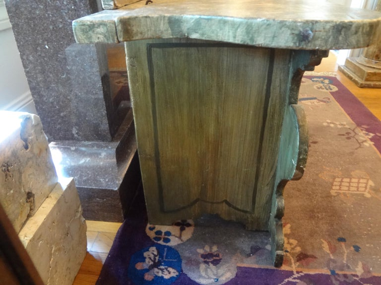 Wood 19th Century Venetian Baroque Style Carved and Painted Bench For Sale