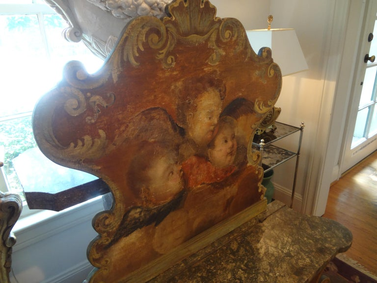 19th Century Venetian Baroque Style Carved and Painted Bench For Sale 3