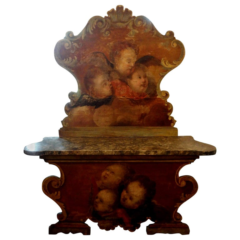 19th Century Venetian Baroque Style Carved and Painted Bench For Sale