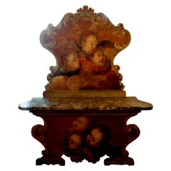 19th Century Venetian Baroque Style Carved and Painted Bench