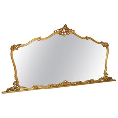 19th Century Venetian Baroque Wall Mirror Hand Carved Gilt Walnut Gold Leaf