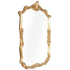 19th Century Venetian Baroque Wall Mirror, Hand-Carved Walnut Gold Leaf Finish